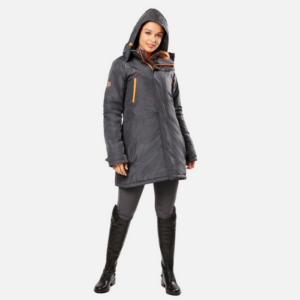 Dublin Amy Mid Length Waterproof Parka front in gray with hood