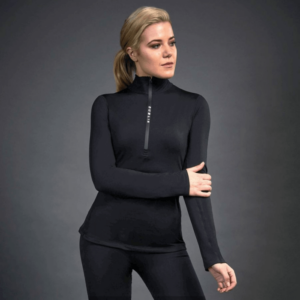 Dublin Black Leslie Half Zip Thermal Top in black front