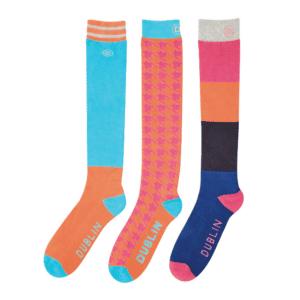 Dublin Country Boot 3 Pack Socks-Bright Orange