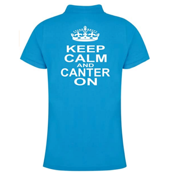 Keep Calm & Canter On Fitted Polo back