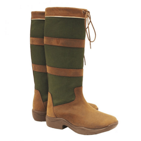 Rambo Original Pull Up Country Boots - Wide Calf brown green left