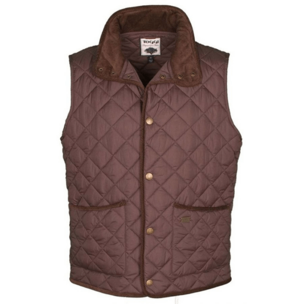 Toggi Tiverton Mens Classic Quilted Gilet chocolate