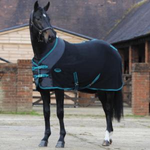 Weatherbeeta Fleece Cooler Standard Neck - Black & Teal