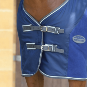 Weatherbeeta Fleece Cooler Standard Neck Dark Blue Grey & White - Chest
