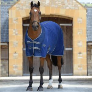 Weatherbeeta Fleece Cooler Standard Neck Dark Blue Grey & White - Front
