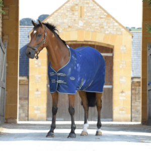 Weatherbeeta Fleece Cooler Standard Neck Dark Blue Grey & White - Side