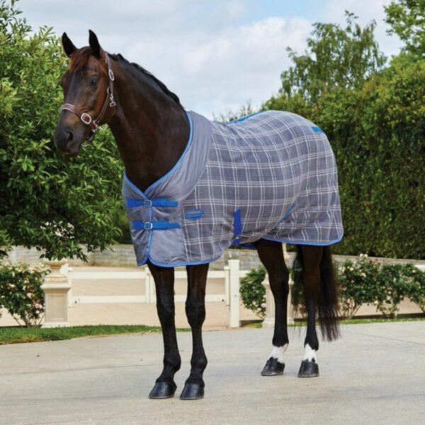 Weatherbeeta Fleece Cooler Standard Neck Grey Plaid - Front