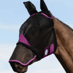 Weatherbeeta Comfitec Durable Mesh Mask With Ears & Nose Black & Purple