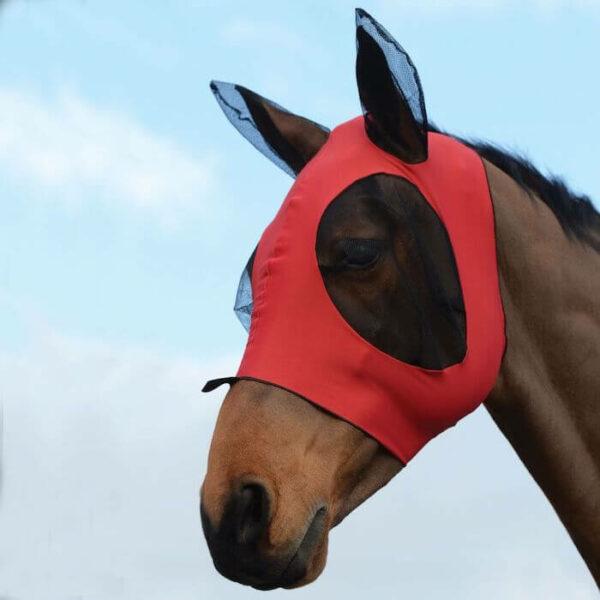 Weatherbeeta Stretch Bug Eye Saver With Ears - Red/Black