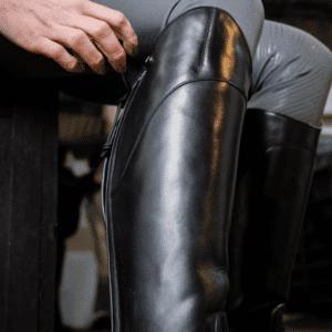 Avebury Riding Boot-Black-LF-Closeup