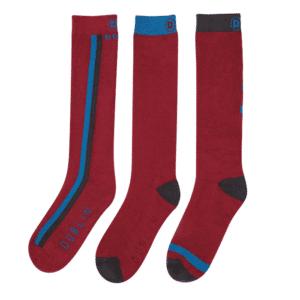 Dublin 3 Pack Socks (ColourBlock Deep Crimson Red)